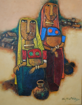 Two women - Oil on Canvas