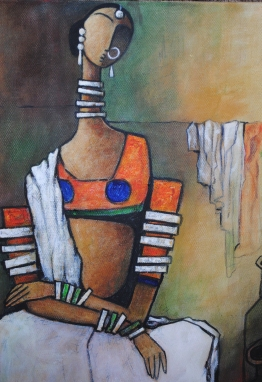Village woman - 30cm x 40cm - Acrylic on Canvas £150