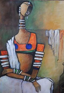 Village woman - 30cm x 40cm - Acrylic on Canvas £150