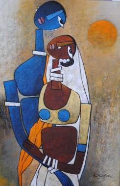 RadheKrishn I - 50cm x 75cm - Acrylic on Canvas - £400