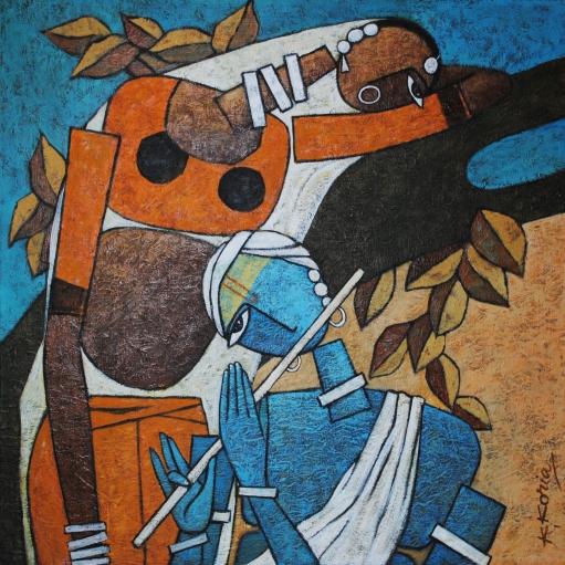 RadheKrishn III 60cm x 60cm -Acrylic on Canvas