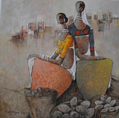 Market - 80cm x 120cm - Acrylic on Canvas - £1200
