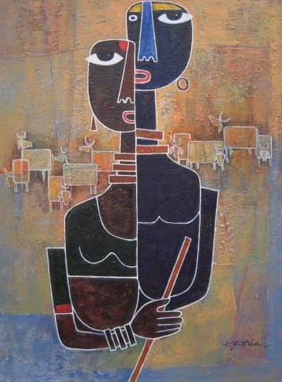 Radha Gopal - 42cm x 63cm - Acrylic on Canvas £400