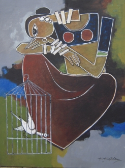 Caged Bird - 45cm x 60cm - Acrylic on Canvas