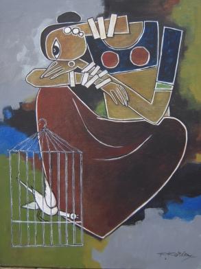 Caged Bird - 45cm x 60cm - Acrylic on Canvas