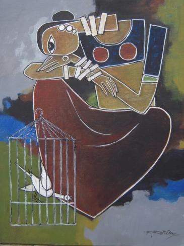 Caged Bird - 45cm x 60cm - Acrylic on Canvas £300