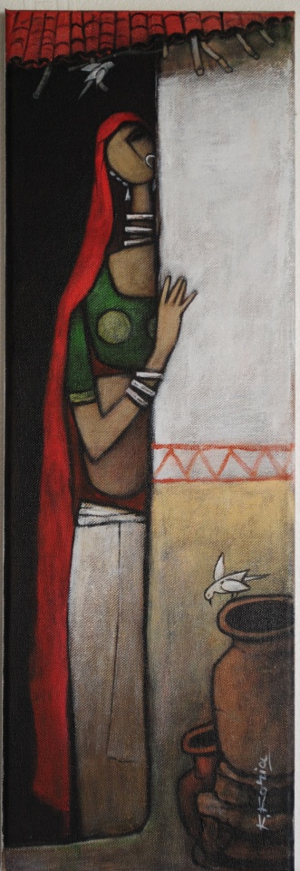 Village Lady - 60cm x 20cm - Acrylic on Canvas