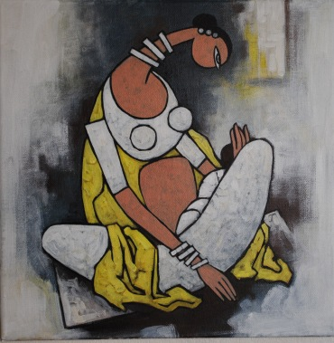 Mother and Child - White - 50cm x 50cm