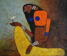 Lady with Bird - 60cm x 80cm Acrylic on Canvas