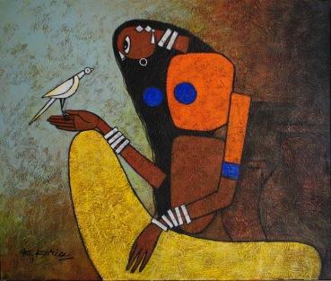 Lady with Bird - 60cm x 80cm Acrylic on Canvas