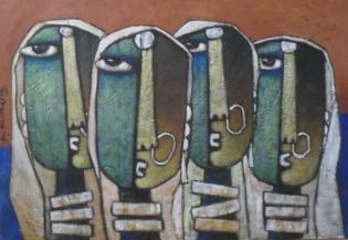 Four Ladies - 70cm x 50cm - Acrylic on Canvas