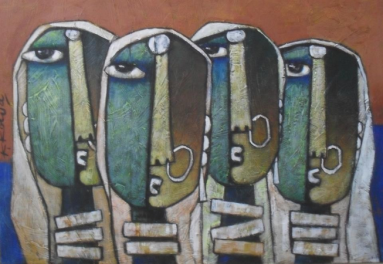 Four Ladies - 70cm x 50cm - Acrylic on Canvas