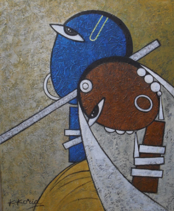 RadheKrishn II - 40cm x 50cm - Acrylic on Canvas