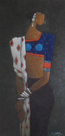 Woman on Black - 40cm x 100cm - Oil on Canvas