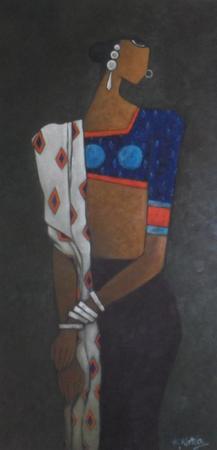 Woman on Black - 40cm x 100cm - Oil on Canvas