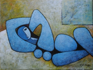 Lady in Blue Sold 60cm x 46cm Acrylic on Canvas