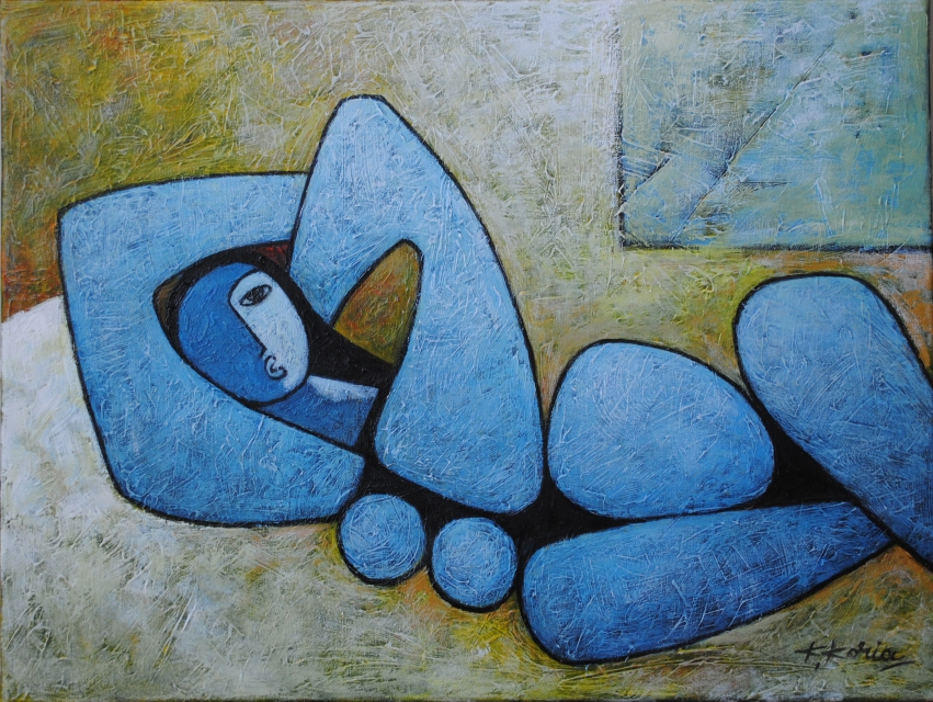 Lady in Blue (Sold) 60cm x 46cm Acrylic on Canvas