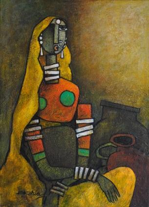 Woman yellow saree